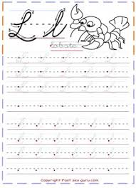 cursive handwriting practice tracing worksheets letter l for