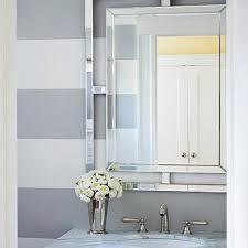 Powder Room Painting Ideas - white and gray stripe powder room walls design ideas