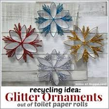 recycling idea glitter ornaments out of toilet paper rolls