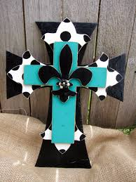 Decorative Wooden Crosses For Wall Teal And Polka Dot Hand Painted Wooden Cross By Poshrecreations