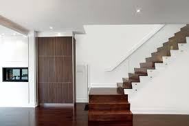 Glass Stair Banister Stair Handrail Staircase Modern With Ceiling Lighting Dark Floor