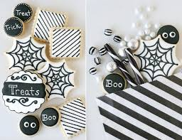 Halloween Cookies Decorating Ideas Black And White Halloween Dessert Table U2013 Glorious Treats