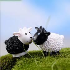 Goat Home Decor 2pcs Set Artificial White Black Sheet Dolls Diy Goat Toys Garden