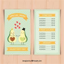 valentine menu template with avocado vector free download