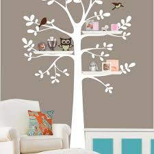 nursery vinyl wall decal circle leaf tree bird child growing
