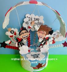 hand made skydiving wedding cake topper engagement by kharygoarts