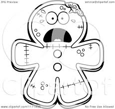 gingerbread coloring page cartoon clipart of a screaming gingerbread zombie mascot vector