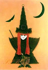 macrame witch halloween macrame wall hanging home zoom