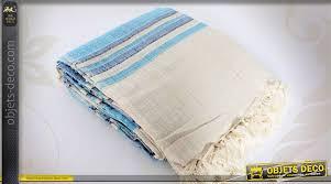 plaid coton canapé plaid de canapé couvre lit 240 x 260 coton é bleu et blanc