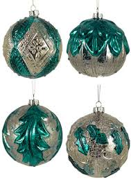 teal blue silver mercury glass antique ornament