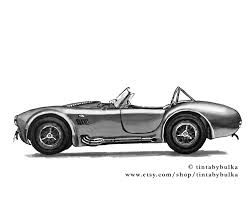 shelby cobra print automotive fine art retro car automotive art