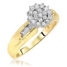 women s engagement rings 1 3 carat t w diamond women s engagement ring 14k yellow gold