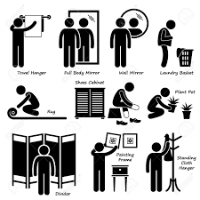 home house accessories and decorations stick figure pictogram