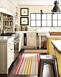 Striped Kitchen Rug Runner Yellow Pattern Wool Blend Rug Runner