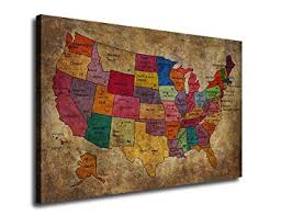 us map framed canvas map painting of united states of america