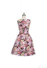 1950 u0027s vintage boat neck floral printed high waist ball dress for
