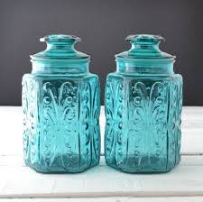 teal kitchen canisters teal glass canisters vintage kitchen canisters atterbury