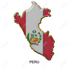 Peru On Map Map Shaped Flag Of Peru In The Style Of A Metal Pin Badge Stock