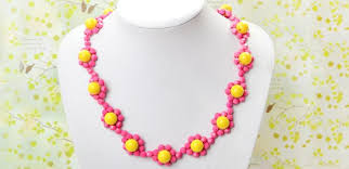 pink beads necklace images How to make candy color beaded flower necklace with yellow and hot jpg