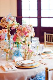 Gold Table Centerpieces by Turquoise Pink And Gold Reception Table Decor 2 Elizabeth Anne