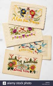 embroidered christmas silk embroidered christmas cards from ww1 stock photo royalty