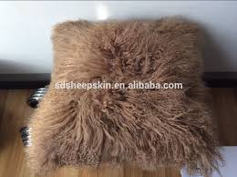 luxury long hair mongolian fur custom cushion covers 60x60 cushion
