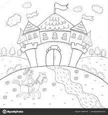 chevalier de livre à cheval et dessin du château magique pour les