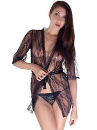 honeymoon lingere fashion honeymoon black semi see thru robe nightgown w