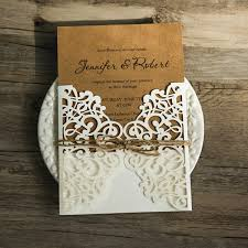 kraft paper wedding invitations rustic kraft paper laser cut invitations with twines ewws071 as