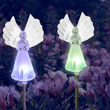 amazon com solar powered frosty fairy angel lights color changing
