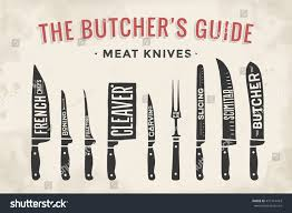 meat cutting knives set poster butcher stock vector 471914423