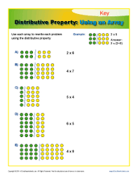 distributive property using an array 3rd grade math worksheets
