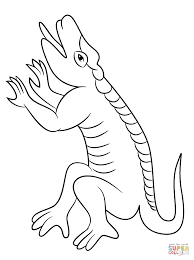 cuetzpalin lizzard from aztec calendar coloring page free