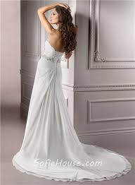 a line strapless ruched chiffon wedding dress with swarovski