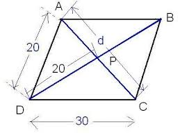 what is the length of other diagonal given the adjacent sides of