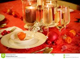 Gold Table Setting by Elegant Christmas Table Setting In Red And Gold Royalty Free Stock