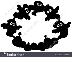 halloween silhouette vector round frame with ghost silhouette illustration