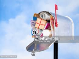 gifts by mail us mailbox with christmas gifts and mail closeup stock photo