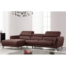 Brown Leather L Shaped Sofa Waldorf Modern Brown Leather L Shaped Sofa With Adjustable