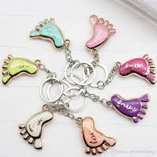 baptism keychain favors mini foot shaped keychains keyrings for baby shower