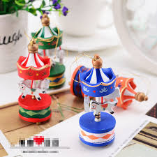 new year toys merry christmas wood carousel ornaments mini beautiful