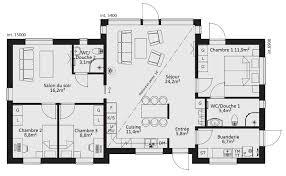 plan maison 3 chambres plain pied nouveau plan de maison plain pied 3 chambres artlitude