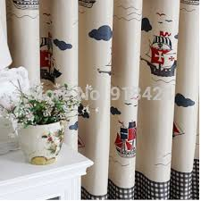 Kids Bedroom Blackout Curtains Size 1 5 2 7m Finish Products Pirate Ship Grid Boys Bedroom