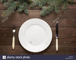 vintage christmas table setting from above elegant empty white
