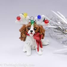 cavalier king charles spaniel ornament reindeer antlers porcelain