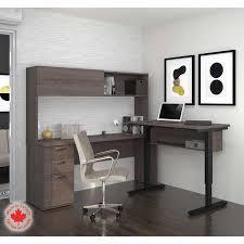 Bestar Desk Bestar Uptown Ii Bark Grey Height Adjustable L Shape Desk With