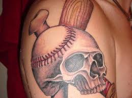 baseball skull and sluggers tattoos in 2017 real photo pictures