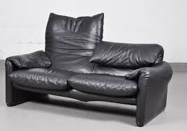 Leather Two Seater Sofas Vintage Maralunga Black Leather Two Seater Sofa By Vico