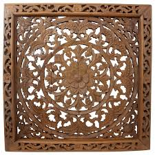 lotus wall panel teak wood inlay square brown stain and