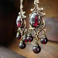 Garnet Chandelier Earrings Style Garnet Cabochon Chandelier Earrings
